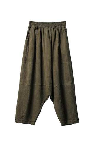 Kiko Pant, Hunter Green, Wrinkled Cotton
