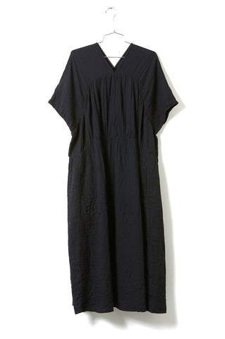 Lihue Dress, Black, Wrinkled Cotton