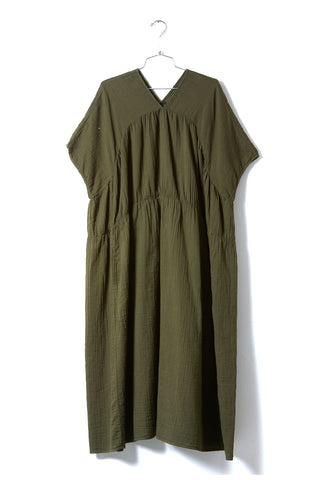 Lihue Dress, Hunter Green, Wrinkled Cotton