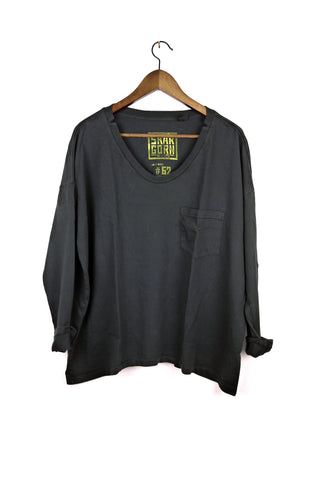 #62 Long Sleeve Tee, Black Wash
