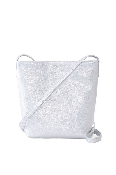 Cross Body Purse, Silver Leather