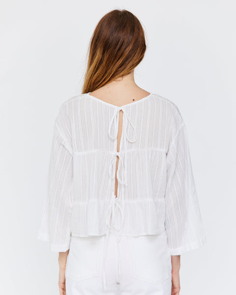 Kiko Tie Back Top, White Cotton Dobby