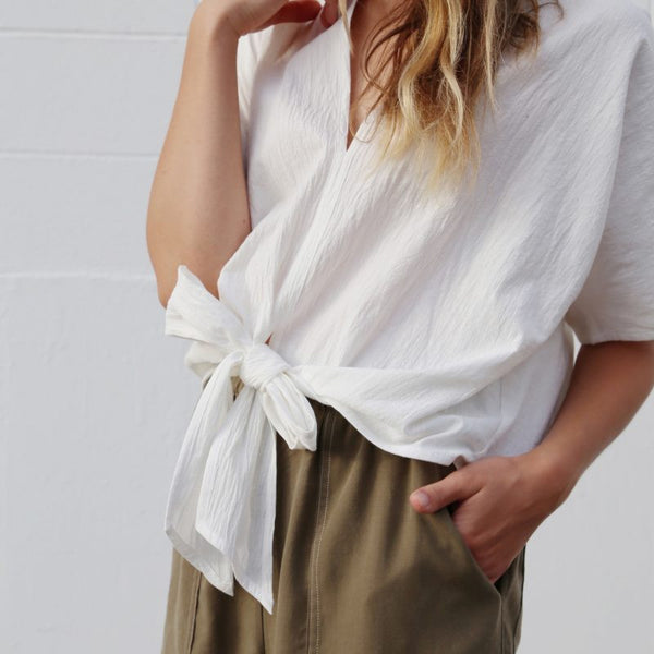 Bow Cropped Top, White