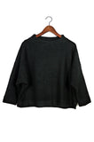 Cropped Mockneck Sweater, Black