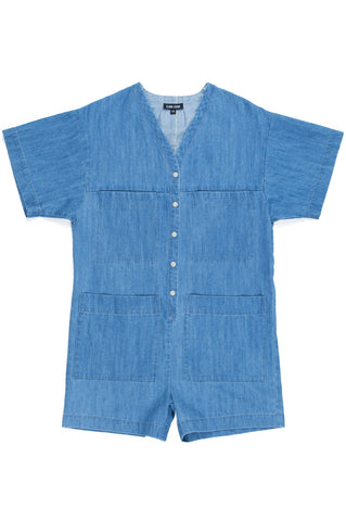 Tuck Romper, Faded Denim, Cotton