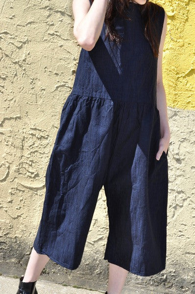 Kate Jumpsuit, Deep Indigo, Cotton Linen