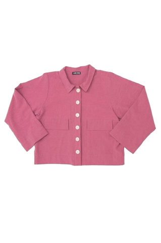 Mabel Crop Jacket, Rose, Cotton Linen
