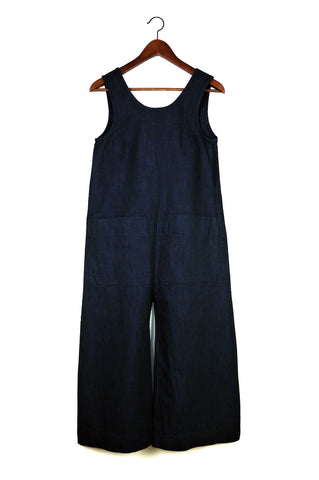 Milo Jumpsuit, Deep Indigo, Cotton Linen
