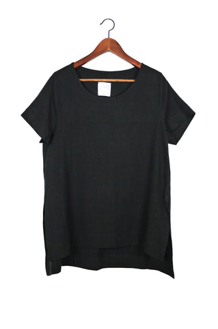 Split Tee, Black Raw Silk