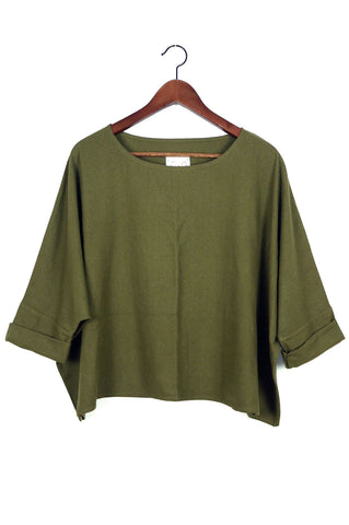 T Top, Olive Raw Silk