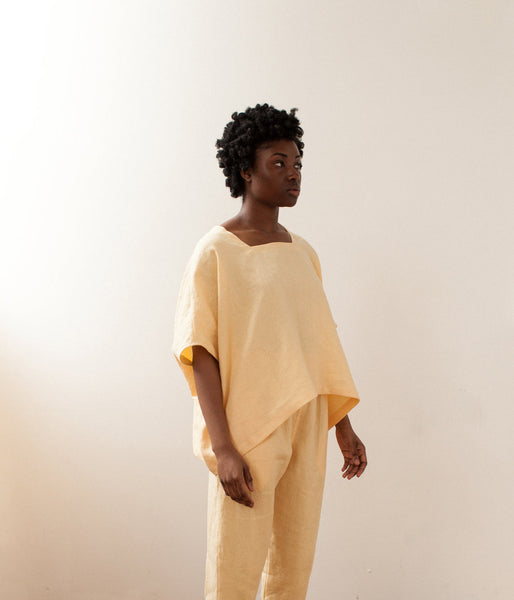 Square Tee, Yellow Linen
