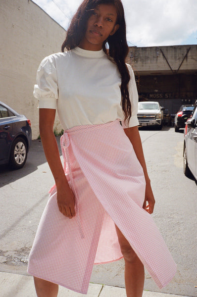 Capri Wrap Skirt, Pink Gingham