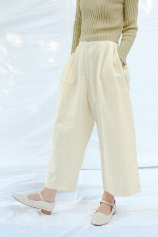 Pleated Trouser, Cream