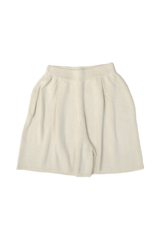 Pleated Knit Short, Cream