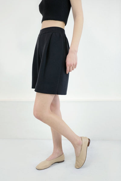 Pleated Knit Short, Faded Black
