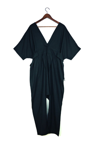 Cala Jumpsuit, Black Silk Noil