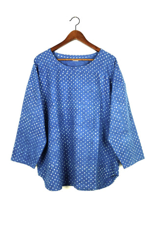 Everday Top, Indigo Pollen Print