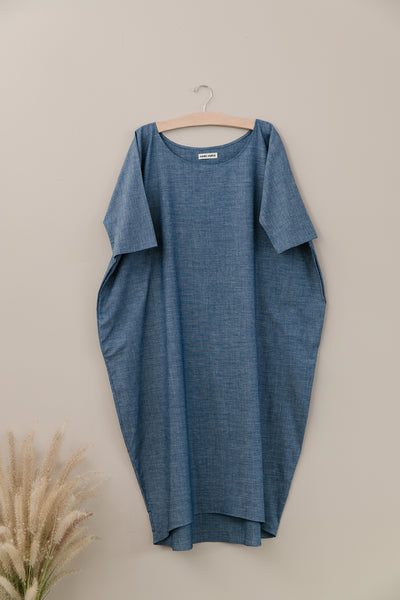 Long Cocoon Dress, Chambray