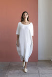 Long Cocoon Dress, Ivory Linen