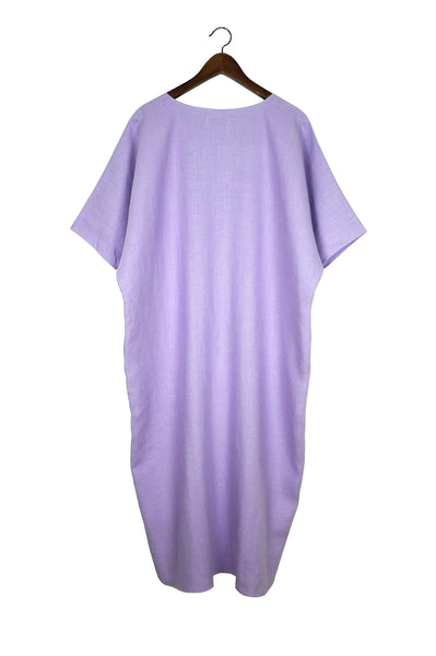Long V Neck Caftan, Lilac Linen