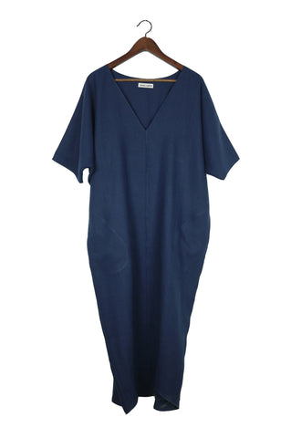 Long V Neck Caftan, Midnight Linen