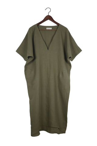 Long V Neck Caftan, Serpentine Linen