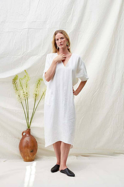 Long V Neck Caftan, White Linen