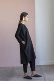 Short Cocoon Dress, Black Linen