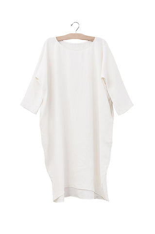 Short Cocoon Dress, Ivory Linen