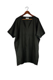 Short V Neck Caftan, Black Linen