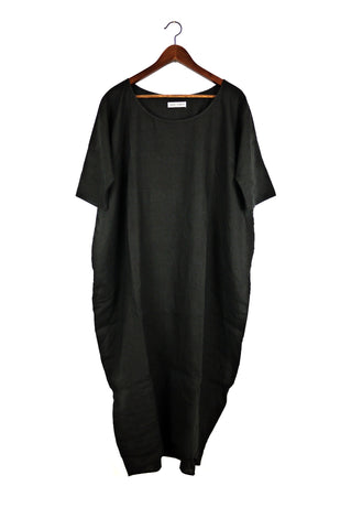 Long Cocoon Dress, Black Linen