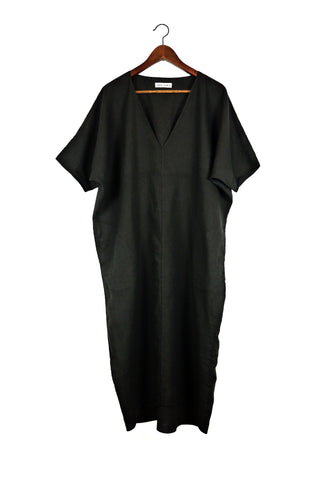 Long V Neck Caftan, Black Linen