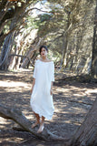 Long Cocoon Dress, White Linen