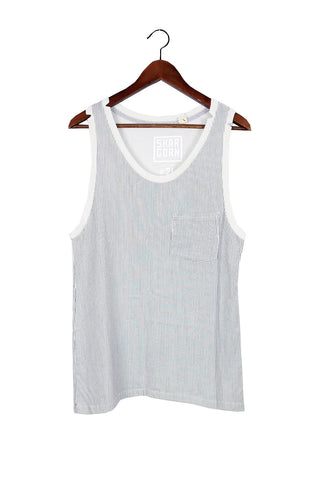 #21 Sleeveless Tee, Milk Blue Oxford
