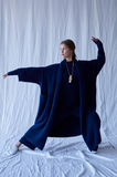 Extra Long Haori Coat, Alpaca, Navy