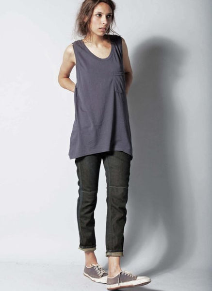 #21 Sleeveless Tee, Indigo Wash