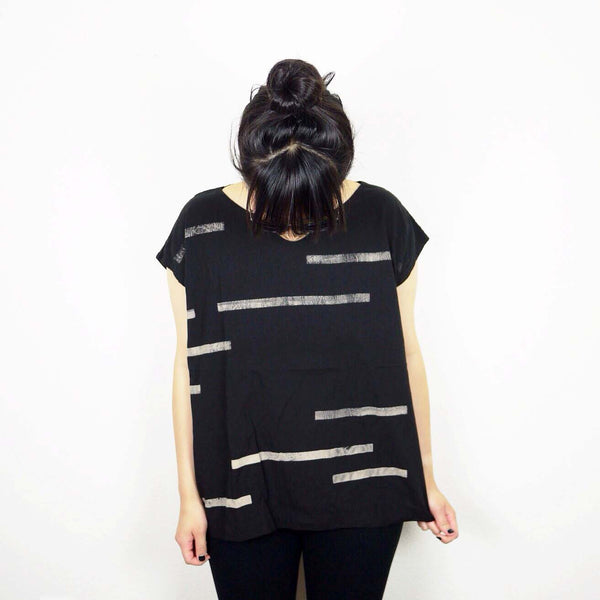 Black Broken Stripe Tunic