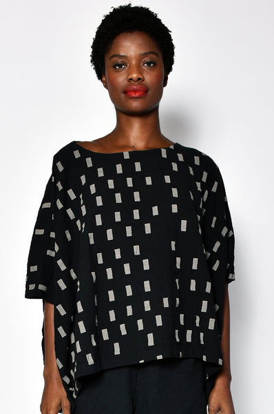 Black Disko Coarse Cotton Cube Top