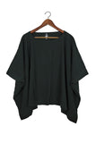 Black Coarse Cotton Cube Top