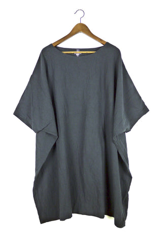 Charcoal Coarse Cotton Box Dress