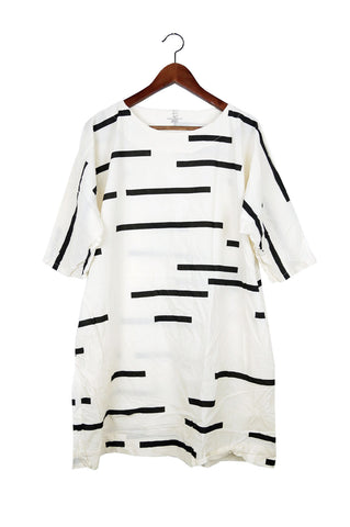 Cream Broken Stripe Now Dress