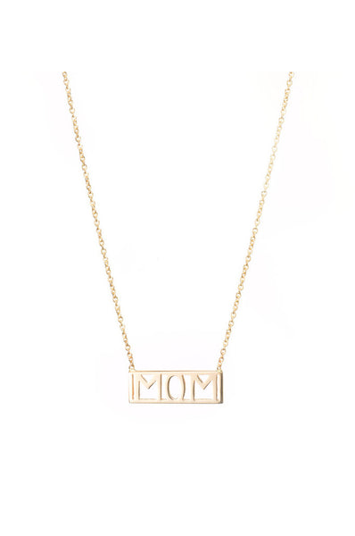 Mom Necklace, 14K Yellow Gold