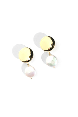 Coin Pearl Earrings, Gold Plated