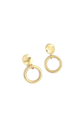 Drop Hoop Earrings, Gold Plated