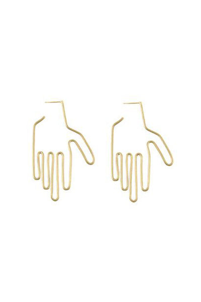 Hand Earrings, Gold Plated