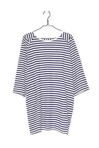 Oversized Tee Dress, Blue White Stripe