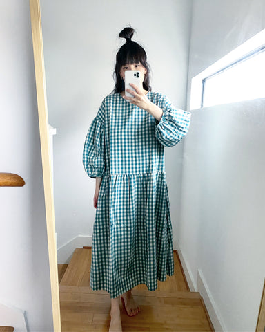 May Dress, Turquoise Gingham