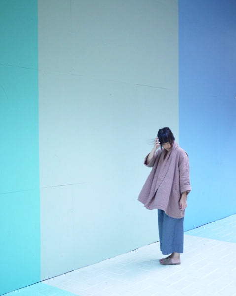 Haori Coat, Baked Coral, Cotton