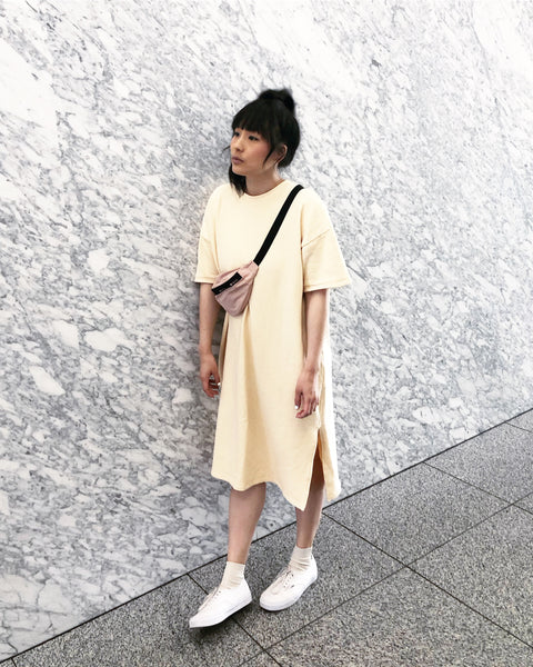 Short Sleeve Sweater Dress, Melon, Japanese Cotton