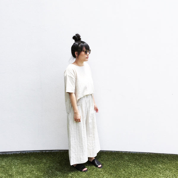 Wide Pant, Ivory Stripe